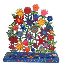 Painted Metal Lazer Cut Menorah - Flowers